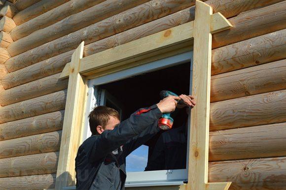 Монтаж окна в деревянный дом